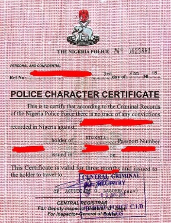 Cost Of Police Clearance Certificate In Nigeria